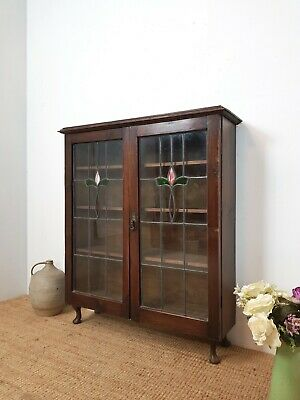VINTAGE DISPLAY CABINET 1930s 40s WITH STAINED GLASS