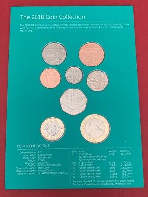 2018 Royal Mint Definitive BUNC 8 Coins Set From 1p to £2 Inc Shield & Britanna