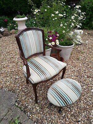 Ladys Boudoir Louis Rococo Style Carver Chair & Foot Stool