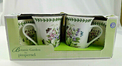 2 Portmeirion Botanic Garden by Pimpernel Mugs Sweet Pea With 2 Coasters