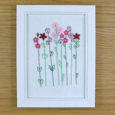 Blossoming Wildflower Stems - Framed Embroidery