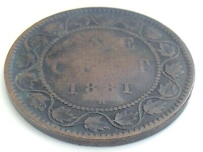 1881 H Canada One 1 Cent Large Penny Copper Victoria Circulated Coin K013