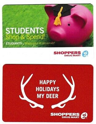 2 Collectible SHOPPERS DRUG MART Canada gift card Students Shop Parents Pharma