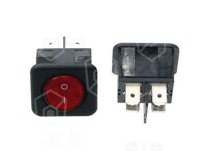 Rocker Switch 2-pin 250V 2NO Red Connection Faston 6,3mm Illuminated 16A