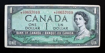 1954 BANK OF CANADA $1 Dollar Replacement Note *I/O 0657010 BC-37bA