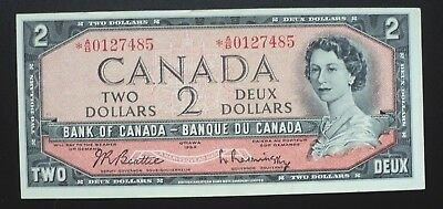 1954 Bank of Canada $2 Dollars Replacement Note *A/B 0127485  BC-38bA
