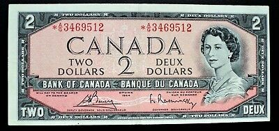 1954 Bank of Canada $2 Dollars Replacement Note *A/G 3469512  BC-38cA