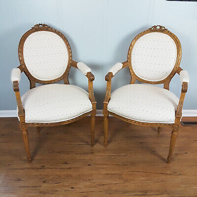Pair Vintage French Carved Arm Chairs Fireside Louis XV 9105