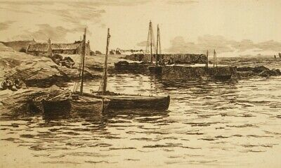Antique sepia etching 'Banffshire, Scotland' Colin Hunter 1880
