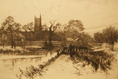 Percy Robertson antique signed sepia etching; Winchester 1800's