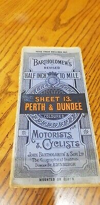 Old 1930's Bartholomews Revised Half Inch Cloth Map Sheet 13 Perth & Dundee