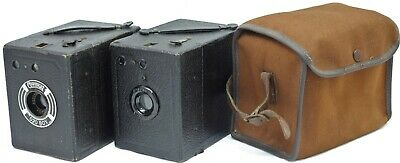 Two Early Coronet Box 120 Roll Film Camera c.1930s + case