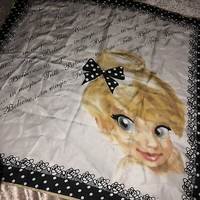 Monnalisa Tinkerbell Print Silky Square Scarf Bag Tie Neckerchief Made in Italy