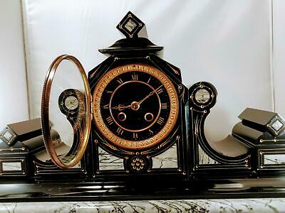 Stunning Large French Slate & Marble Mantel Clock by Japy Freres, Serviced G.W.O