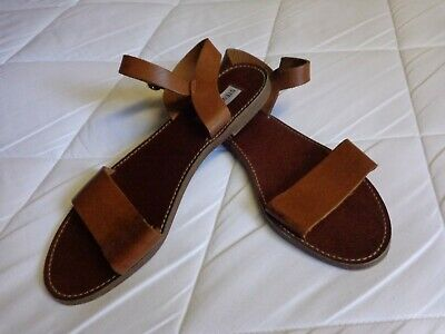 07202ee56f9 SIZE 9.5 STEVE Madden Donddi Tan Leather Flat Ankle Strap Womens ...