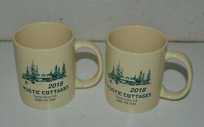 Nice LAKE TAHOE Rustic Cottages Cabin 2018 Ceramic Coffee Mug Lot Set of 2