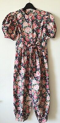 Vintage Floral Jumpsuits Flowers Girl Kids Children Pink Navy Green Bow 8 Years