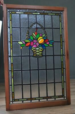 "Attractive Large Antique Victorian 44"" X 28"" Stained Glass Panel, Very Colourful"
