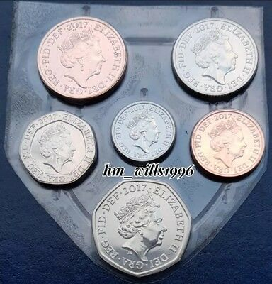 2017 Royal Mint Definitive Shield 6 Coin Set 1p 2p 5p 10p 20p 50p BU In Plastic