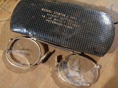 VINTAGE SPECTACLES IN ORIGINAL CASE, GOLD I THINK tlc needed