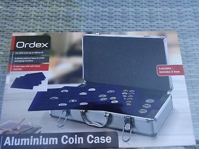 New  Aluminium Coin Display / Storage Case,2 Keys, 5 Trays, Holds 205 Coins (b2)