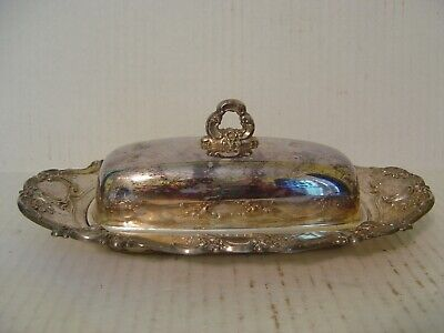Vintage Towle Ornate Silver Plated Butter Dish With Glass Insert