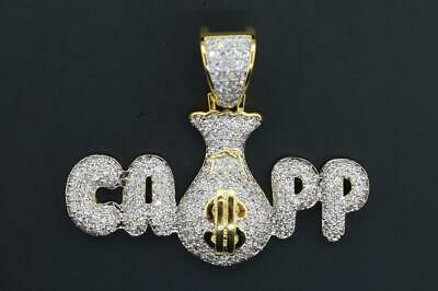 14K Yellow Gold Plated Hip Hop Bling CZ Iced out CAPP Money BagPendant w/ Chain