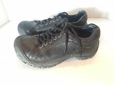 c96ec47ba83 Keen Womens 8 (38.5) Briggs II Black Leather Rubber Toe Lace Up Oxford 5365