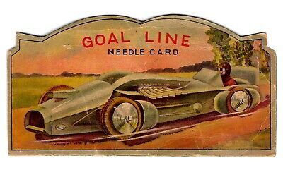 Vintage Goal Line Sewing Needle Card Book, Malcolm Campbell Bluebird, Motorbike