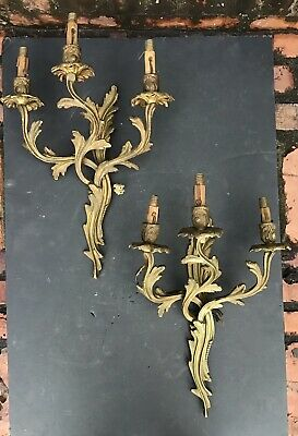 2 Antique Brass Wall Sconce Light Lamp 3 Arm Candle Electric