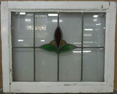 "MIDSIZE OLD ENGLISH LEADED STAINED GLASS WINDOW Simple Floral 23.5"" x 19.25"""