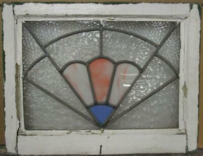 "MIDSIZE OLD ENGLISH LEADED STAINED GLASS WINDOW Stunning Fan Design 23.25"" x 18"""
