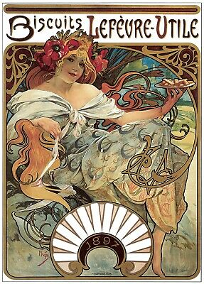 Decor Poster.Home design.Room decoration.Mucha model Biscuit art Nouveau.6979