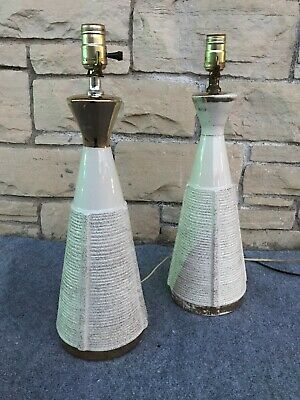 Pair of Mid Century Modern 1960s Ceramic & Gold Table Lamps