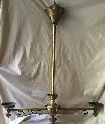ANTIQUE VINTAGE BRASS 2 GAS LIGHT CHANDELIER LIGHT FIXTURE LAMP PART Eastlake