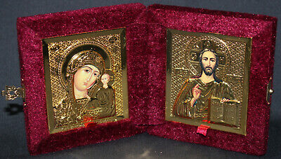 "ORTHODOX DIPTYCH ICON Velvet Box Jesus Christ Virgin 7""x4"""
