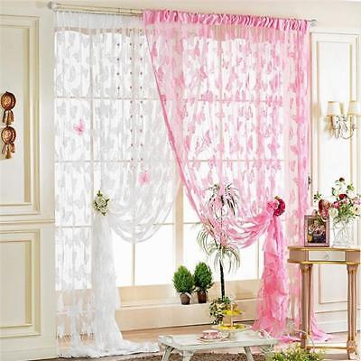 Home Window Curtain Butterfly Print Sheer Panel Balcony Tulle Room Divider LJ
