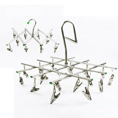 Foldable Stainless Steel Laundry Socks Washing Clothes Airer Dryer Rack Hanger