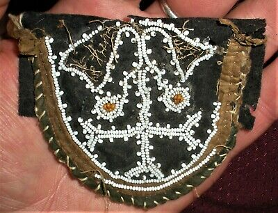 ANTIQUE 1750-1820 IROQUOIS NATIVE AMERICAN INDIAN BEADED MEDICINE MAN POUCH vafo