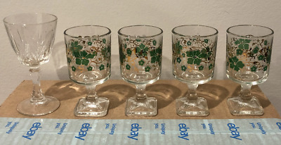 4 Cordial Wine Sherry Glasses Stemware Square Base -Vintage - Plus 1 bonus Glass