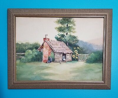 Antique BLACK AMERICANA Original FOLK ART PAINTING Woman Artist SIGNED Wisconsin