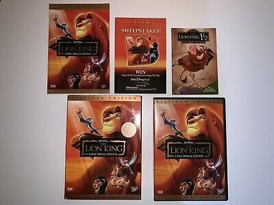 The Lion King DVD Platinum Edition 2 Disc Set with Slipcover
