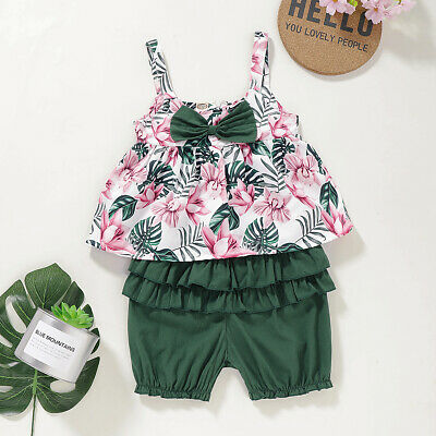 Toddler Kids Baby Girls Flower Sling Tops Short Pants 2PCS Outfit Clothes Summer