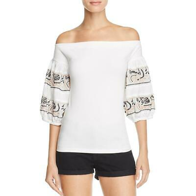 08f7a544 FREE PEOPLE WOMENS Enter Loveland White Embroidered Tassel Crop Top ...