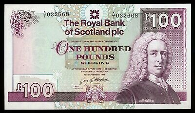 The Royal Bank of Scotland 100 Pounds 1998 P. 350 /350b UNC Note Large & RARE