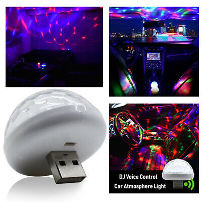 USB LED Car Atmosphere RGB Mini Lamp Interior Ceiling Ambient Light Projector aa