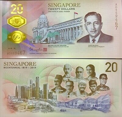 Singapore 20 Dollars 2019 Comm. 1819-2019 Bicentennial 200Th Polymer P New Unc