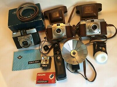 Agfa film cameras - 1 x Isoly (medium format) with flash and 2 x Pronto