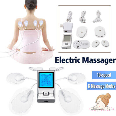 8-in-1 Electrical Stimulation Massage Tens Unit Pain Muscle Therapy 2 Pair UK