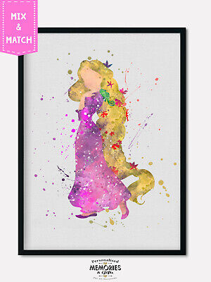 Rapunzel Watercolour Wall Print -  Various styles & Sizes A4,A3 Girls Bedroom